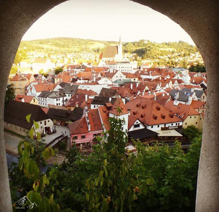 Ausblick vom Schloß Český Krumlov auf die UNESCO WElterbe-Stadt Krumau