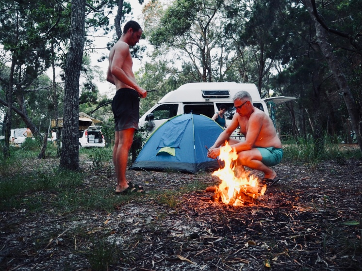 Camping am Inskip Point / Rainbow Beach / Fraser Island, Australien